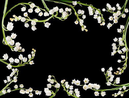 muguet: Border frame made of twigs of lilly of the valley Stock Photo