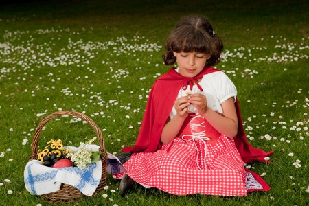 Little red riding hood picking daisy flowers in grass photo