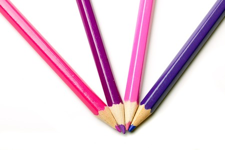 Four pencils in the shades of pink and purple Stock Photo - 7160849