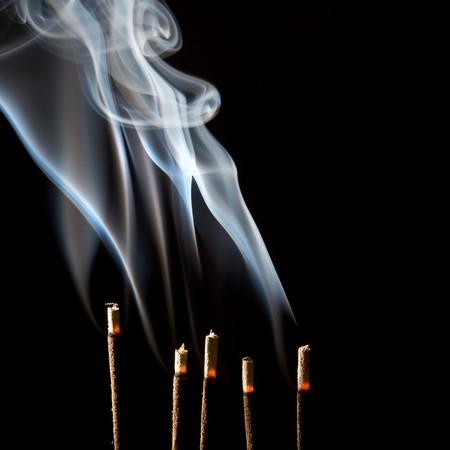 Wierook branden met mooie rook dampen en bosjes Stockfoto