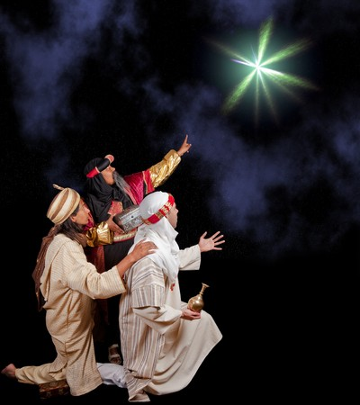 christmas religious: Wisemen Caspar Melchior and Balthasar following the star of Bethlehem