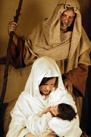 Living christmas nativity scene reenacted with a real 18 days old baby Stock Photo - 7623328