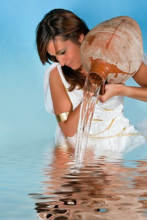 aquarius: Aquarius or Water-Carrier woman, this photo is part of a series of twelve Zodiac signs of astrology
