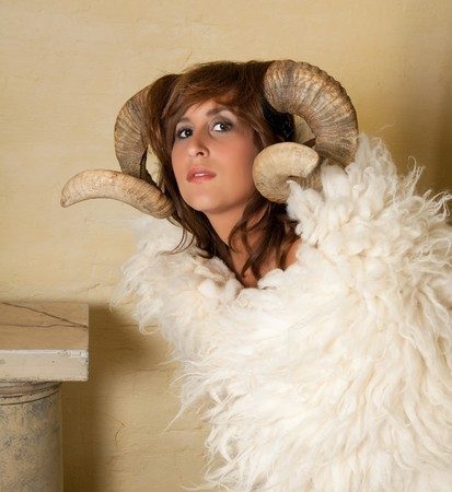 Ram or Aries woman, this photo is part of a series of twelve Zodiac signs of astrology photo