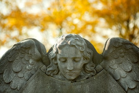 headstones: Stone angel guarding a tombstone on All Saints day in autumn