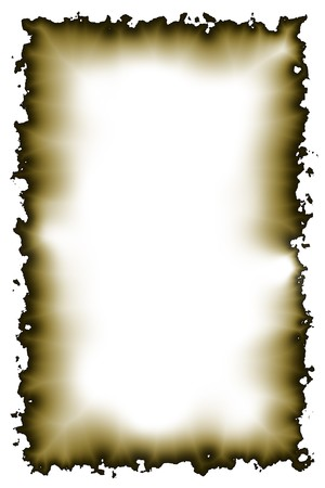 ragged: Empty parchment border with burnt edges Stock Photo