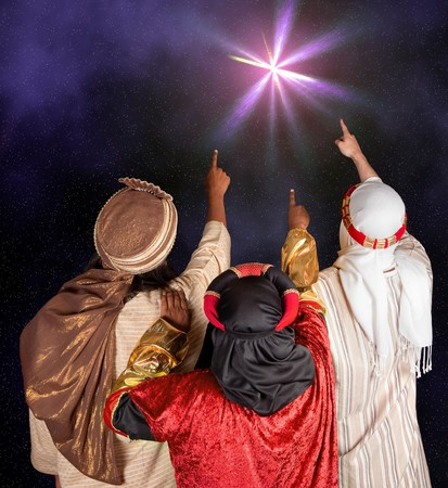 wisemen: Wisemen Caspar Melchior and Balthasar following the star of Bethlehem