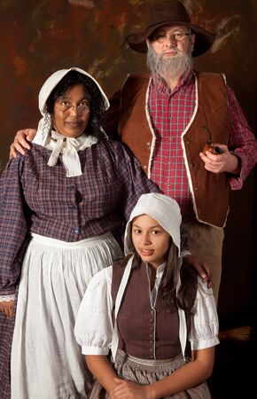 17th: Victorian portrait of a colonial peasant family of the 17th century
