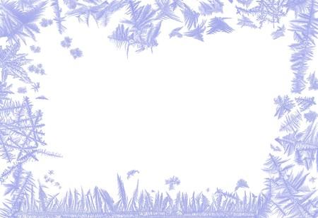 Cadre frontaliers de fleurs de glace réel de plusieurs fenêtres givrées  Banque d'images