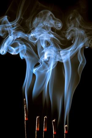 Wierook branden met mooie rook dampen en bosjes