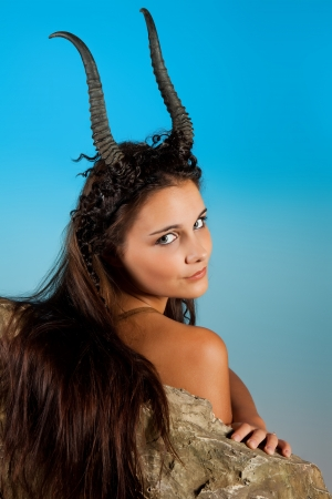 capricorn: Capricorn or Goat woman, this photo is part of a series of twelve Zodiac signs of astrology Stock Photo
