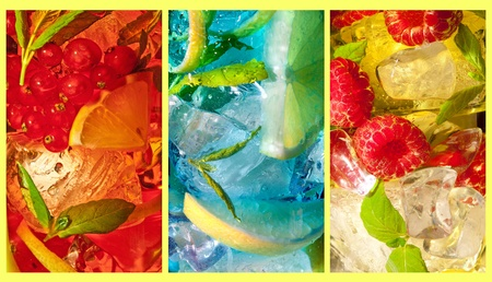 red cube: Three extreme macro shots of colorful cocktail drinks Stock Photo