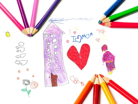 Children's drawing with coloring pencils for mother's day Stock Photo - 9172921