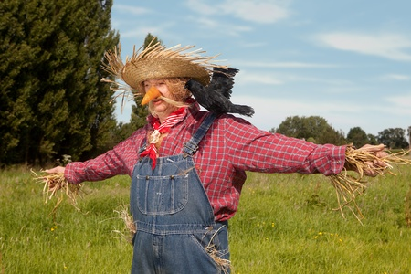 deter: Farmer acting as a living scarecrow on his field Stock Photo