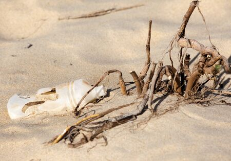 Plastic bottle left on a sandy beach Stock Photo - 9600563