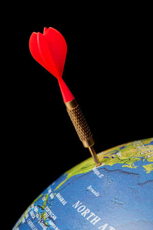 thumbtacked: Blue globe with a red dart in the United States