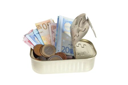 sardine can: Sardine can filled with euros both coins and paper money Stock Photo