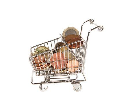 shopping trolley full of euros for spending Stock Photo - 9646109