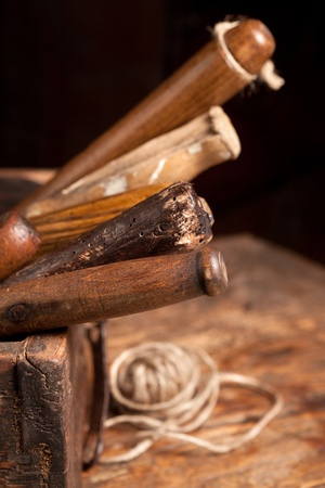 Wooden box filled with very old rusty tools Stock Photo - 9684085
