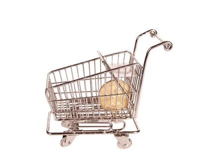 Shopping trolley with one dollar after spending all the money Stock Photo - 9764394