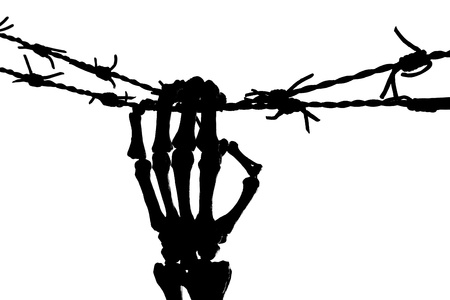 barbed wire and fence: Freedom image with a silhouette of a skeleton hand holding barbed wire