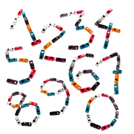 Ten number shapes made of toy cars photo