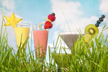 licuados de frutas: Batidos de frutas coloridas en pasto verde