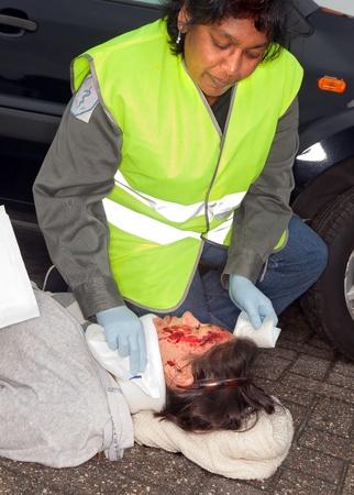 Female car crash victim with whiplash neck brace photo