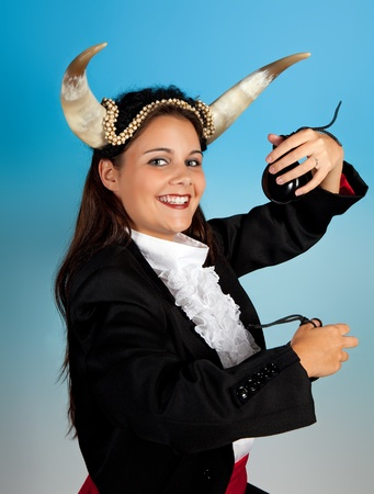 taurus: Taurus or Bull woman, this photo is part of a series of twelve Zodiac signs of astrology