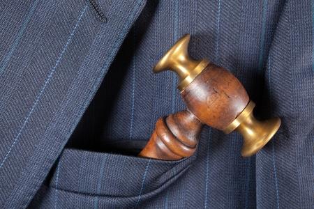 Formal jacket breast pocket with judges hammer