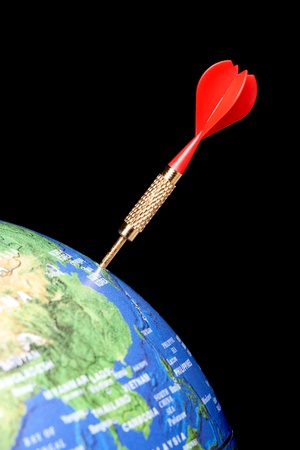 Blue globe with a red dart in Asia, Japan Stock Photo - 10338949