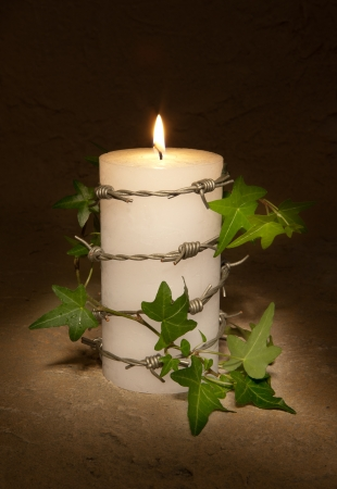 Barbwire and ivy curling around a burning candle, symbol of Amnesty International and civil rights photo