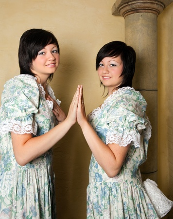 Gemini or Twins, this photo is part of a series of twelve Zodiac signs of astrology photo