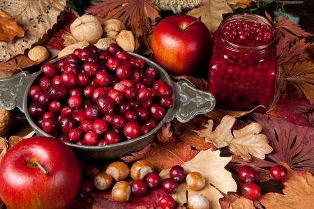 canneberges: Thanksgiving mortes avec des canneberges, des feuilles d'automne, les pommes et les noix Banque d'images