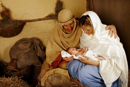 mary and jesus: Reenactment of the christmas nativity scene with real people Stock Photo