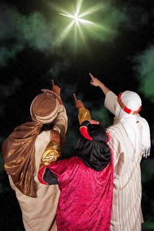 rois mages: Wisemen Caspar Melchior et Balthazar suivant l'�toile de Bethl�em