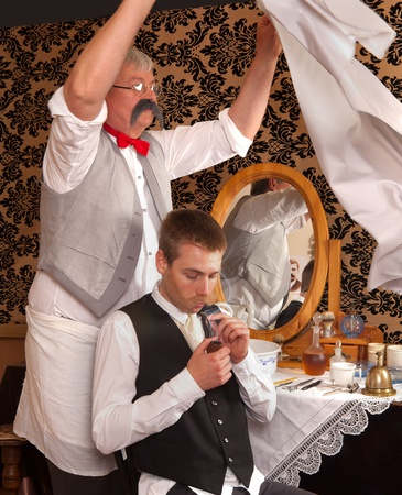 Historical re-enactment of an old victorian barber shop photo