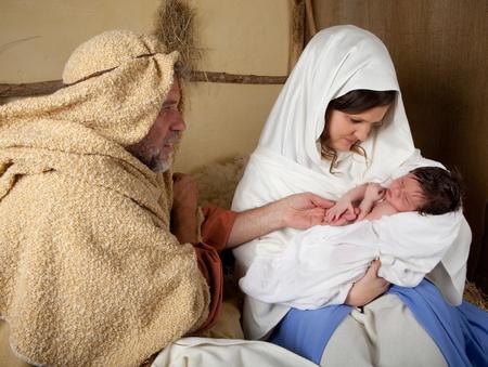 Live reenactment of the christmas nativity scene photo