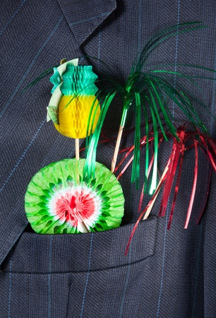 breast pocket: Deco stuff in a breast pocket of a man celebrating promotion