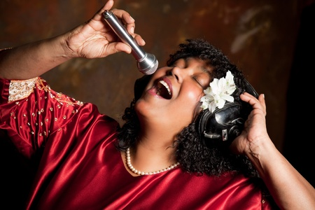 gospel: Negro spiritual gospel singer singing a hymn