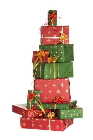 gift packs: High up stack of red and green christmas presents Stock Photo