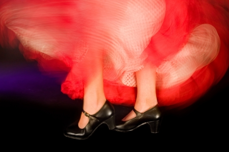 Detail of the feet and whirling skirt of a flamenco dancer