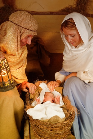 Reenactment of the christmas nativity scene with real people Stock Photo - 11233837