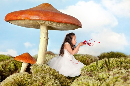 Little fairy girl blowing rose petals under a toadstool umbrella photo