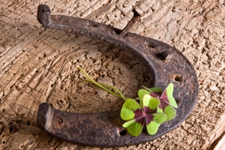 good luck: Horse-shoe and clover, vintage symbols of luck