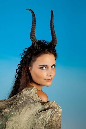 Capricorn or Goat woman, this photo is part of a series of twelve Zodiac signs of astrology photo
