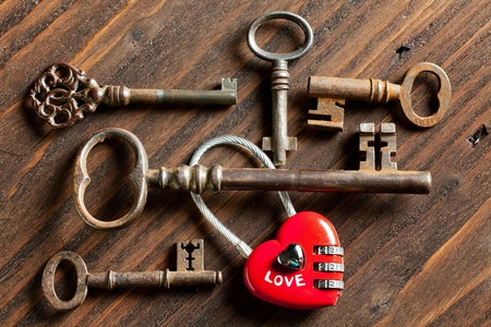 Rusty keys and a heart shaped padlock for Valentines day photo