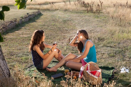 picnic blanket: Two pretty women having a picnic and drinking wine