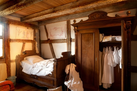 french countryside: Old bedroom of 1900 in the eco museum of Ungersheim, Alsace, France