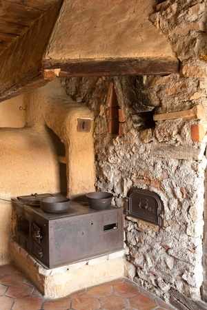 Kitchen diner in an Alsation farmhouse around 1900; eco-museum; Ungersheim; Alsace; France; Europe